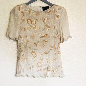 Vintage gold beaded silk blouse